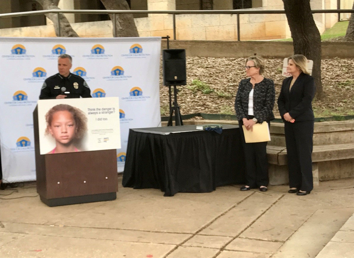 APD Police Chief Brian Manley along with Travis County Sheriff Sally Hernandez and District Attorney Margaret Moore attend a press conference during Child Abuse Prevention Month (April 2017).