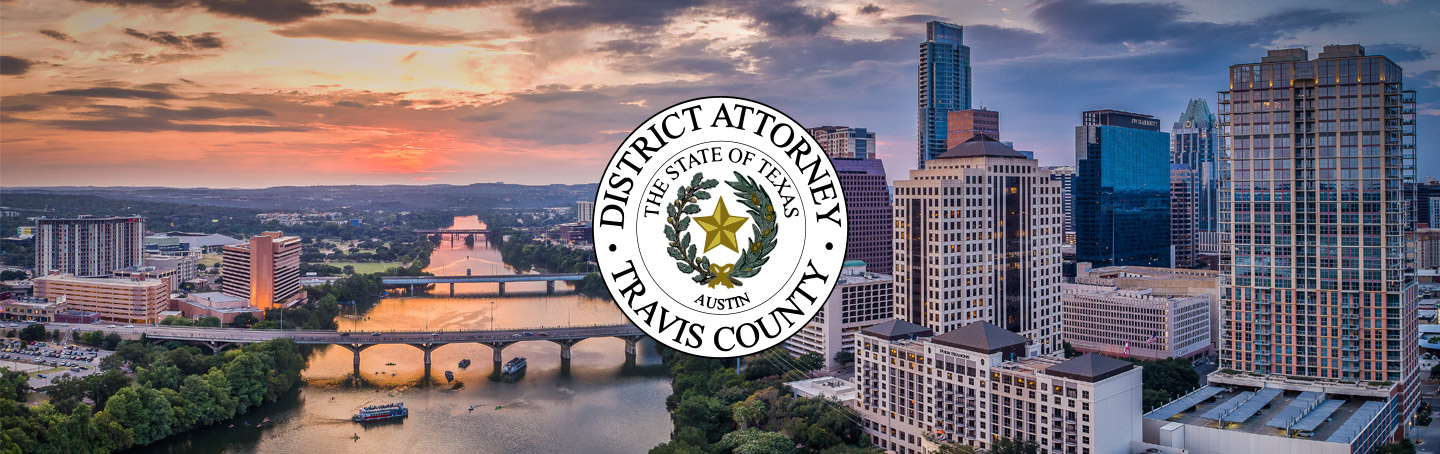 travis county district attorney logo against austin skyline at sunset background