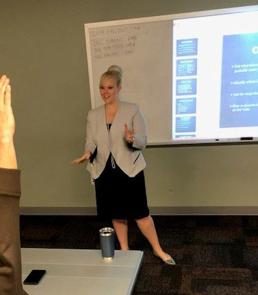 VCSP prosecutor Allison Tisdale conducting a training session for law enforcement agencies.
